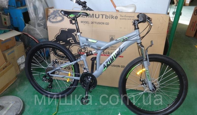 """Велосипед горный AZIMUT Fusion*19 26"""" серый"""