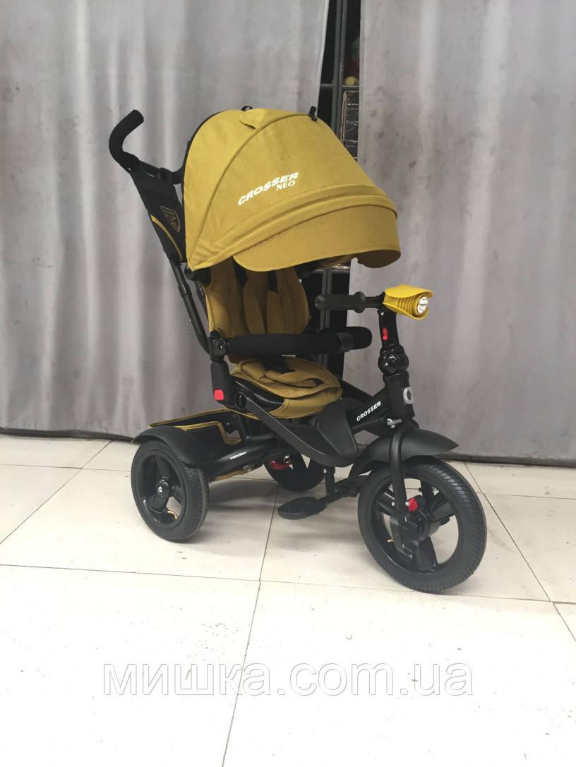 CROSSER T-400 NEO ECO AIR горчичный детский трехколесный велосипед