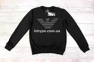Армани свитшот чёрный с логотипом