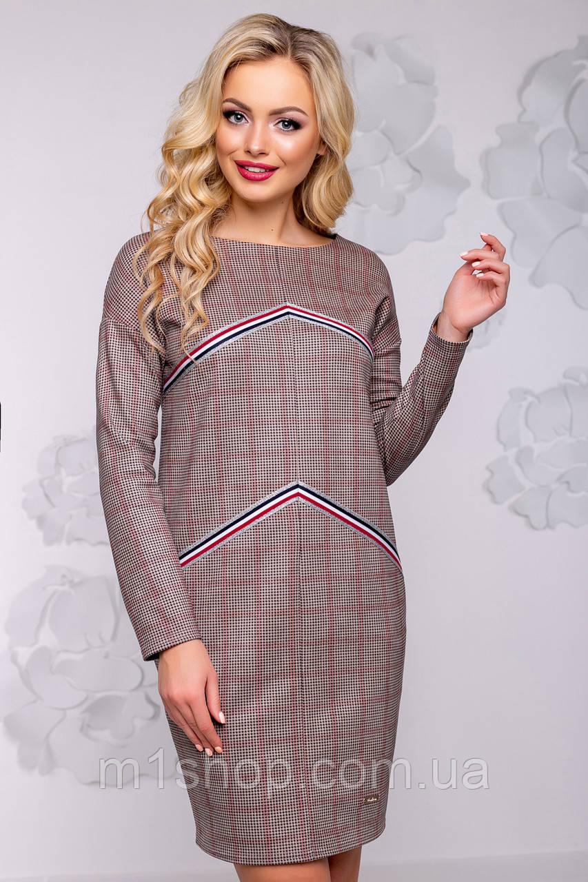 Женское платье в клетку из экозамши (2918 svt)