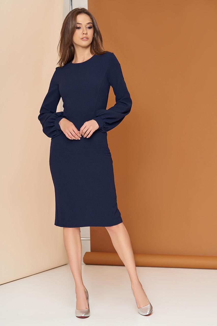 Платье футляр с широким рукавом 44-54р синее