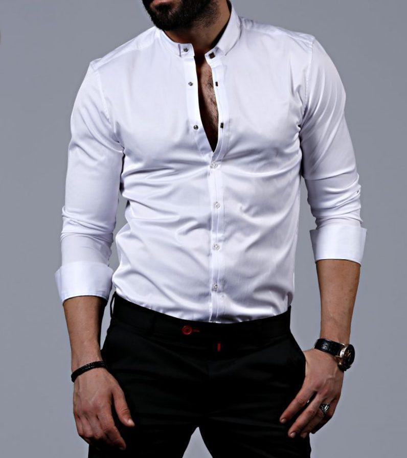 119450e6a2d Стильная мужская белая рубашка с длинным рукавом - Интернет-магазин стильной  одежды и обуви