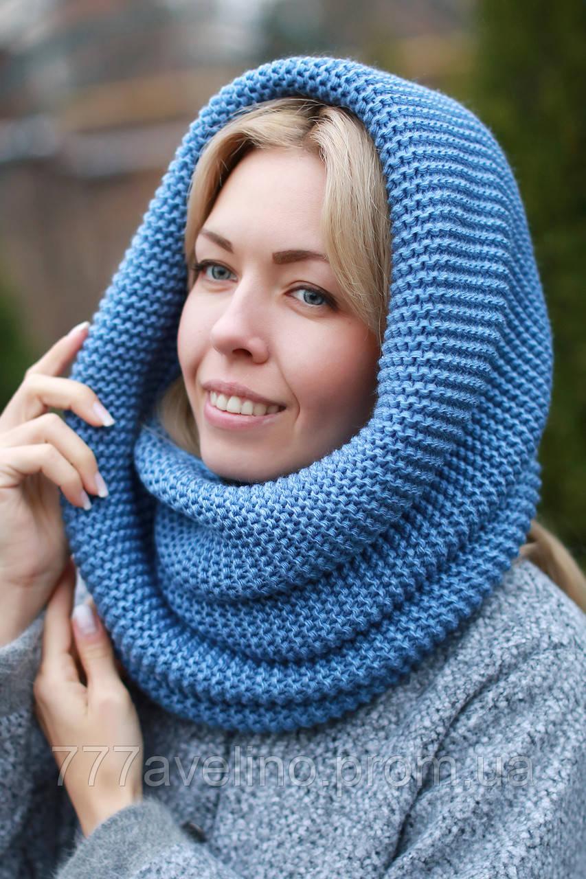Снуд шарф хомут голубой