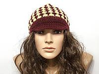 Шапка, женская вязаная шапка, HandMade шапка, модная стильная шапка, шапка козырек, фото 1