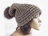 Шапка, женская вязаная шапка, HandMade шапка, модная стильная шапка, помпон шапка, фото 1