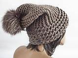 Шапка, женская вязаная шапка, HandMade шапка, модная стильная шапка, помпон шапка, фото 3