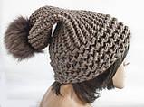 Шапка, женская вязаная шапка, HandMade шапка, модная стильная шапка, помпон шапка, фото 7