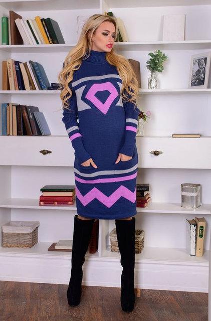 Вязаное платье с карманами ДИАМАНТ  р.44-50