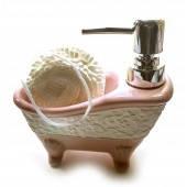 Диспенсер для мила з мочалкою Рожева ванна 32164В