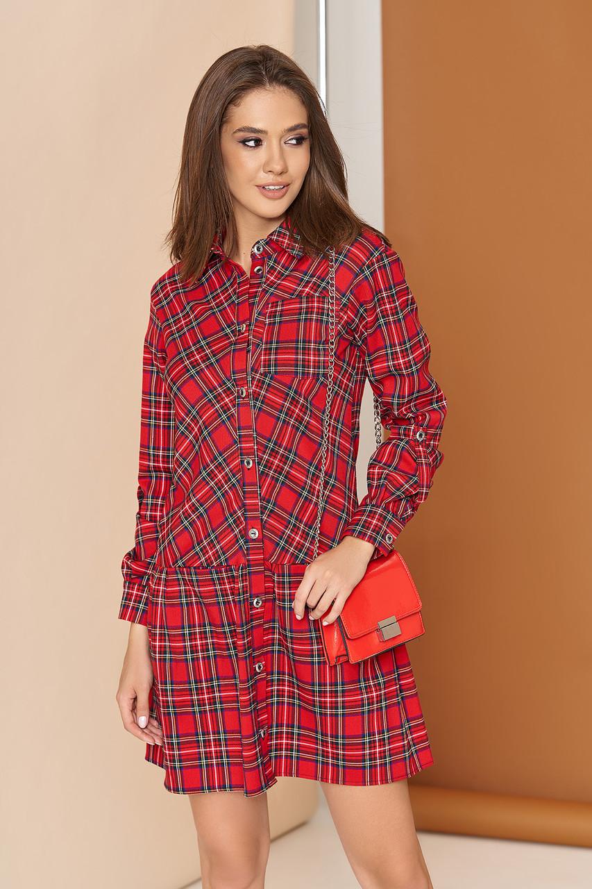 Трикотажное платье-рубашка в клетку 44-50р красное