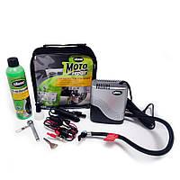 Ремкомплект для мотопокрышек MOTO Power Sport (Герметик + воздушный компрессор), Slime / Для велосипеда.
