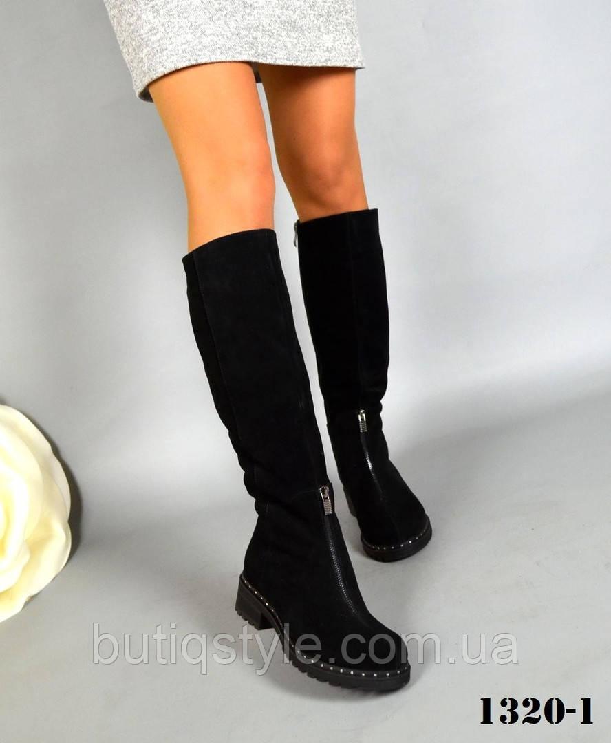 39 размер! Красивые зимние женские ботфорты Drive натур замш, шерсть