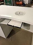 Стол маникюрный с двумя тумбами, утолщенной столешницей со стеклом V303, фото 6