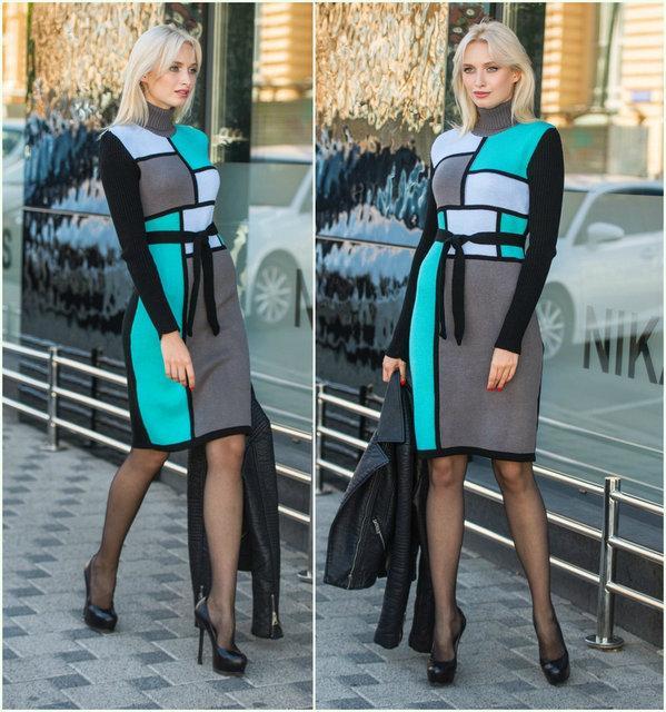 Теплое вязаное платье КУБИК  р.42-48
