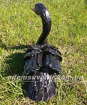 Садовая фигура Лебедь черный малый, фото 3
