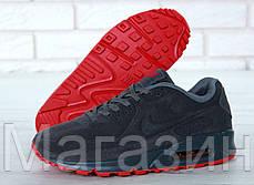 Мужские зимние кроссовки Nike Air Max 90 VT Tweed замшевые Найк Аир Макс 90 С МЕХОМ серые, фото 2