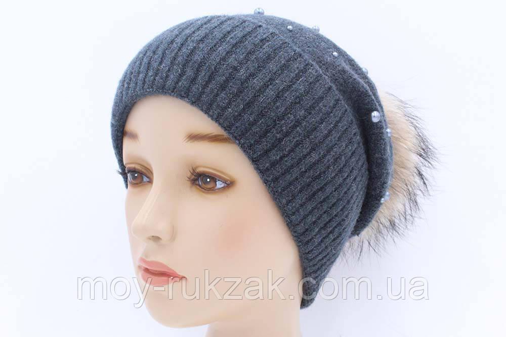 шапка вязаная женская жемчуг джинс 904005 в категории шапки на