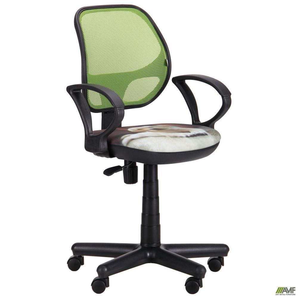 Кресло Чат/АМФ-4 сиденье Дизайн №10 Собачка/спинка Сетка салатовая
