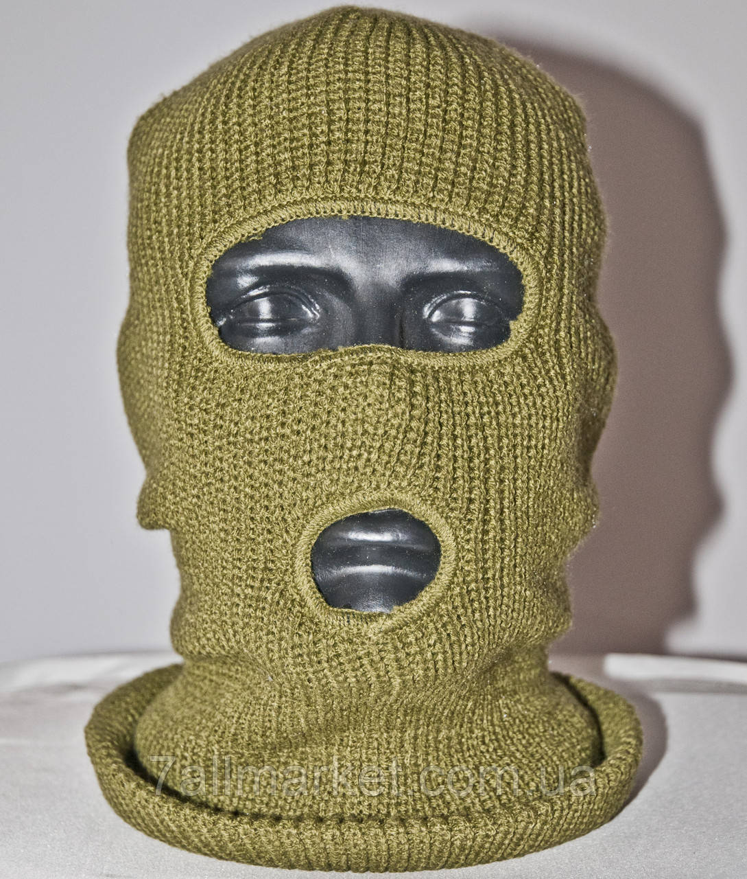маска балаклава мужская вязаная оливка размер универсальный