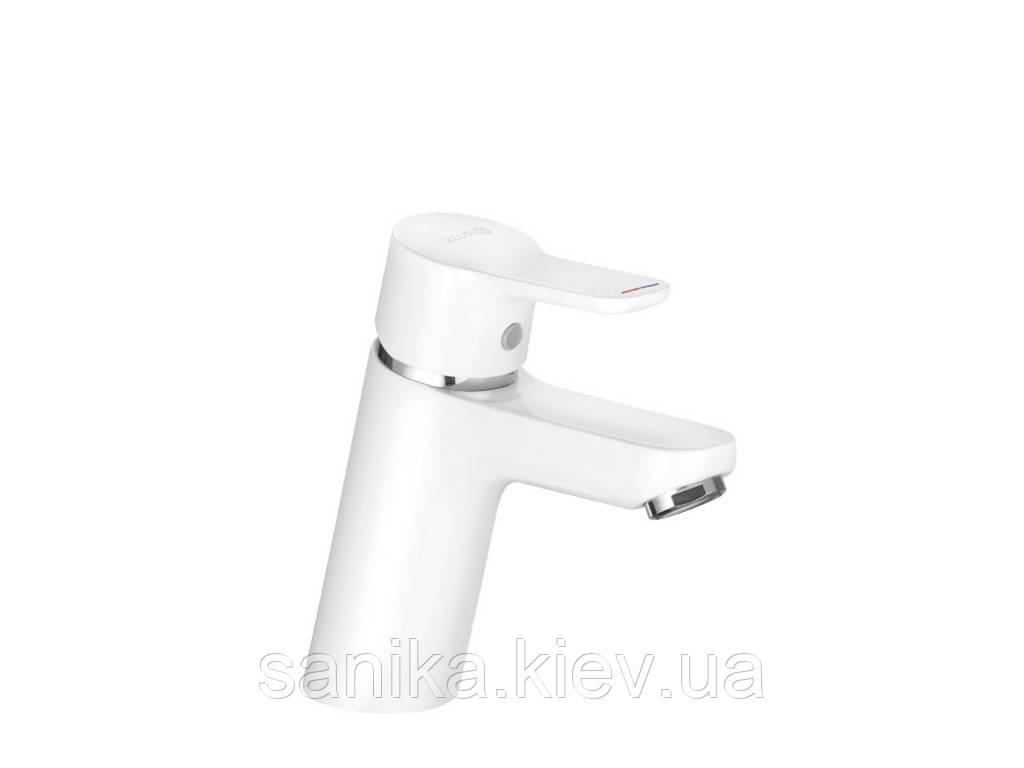 Смеситель для умывальника KLUDI PURE&EASY 70, без донн.клапана, однорычажный, белый