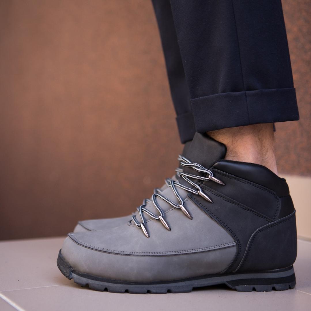 Зимние мужские ботинки высокие стильные на шнуровке на каждый день (черные), ТОП-реплика