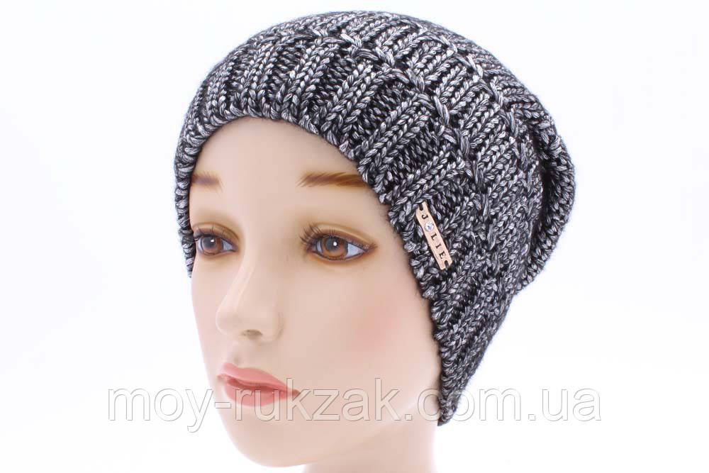 шапка вязаная женская клико черный 904138 в категории шапки на