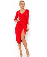 Красивое красное платье с имитацией запаха Д-433