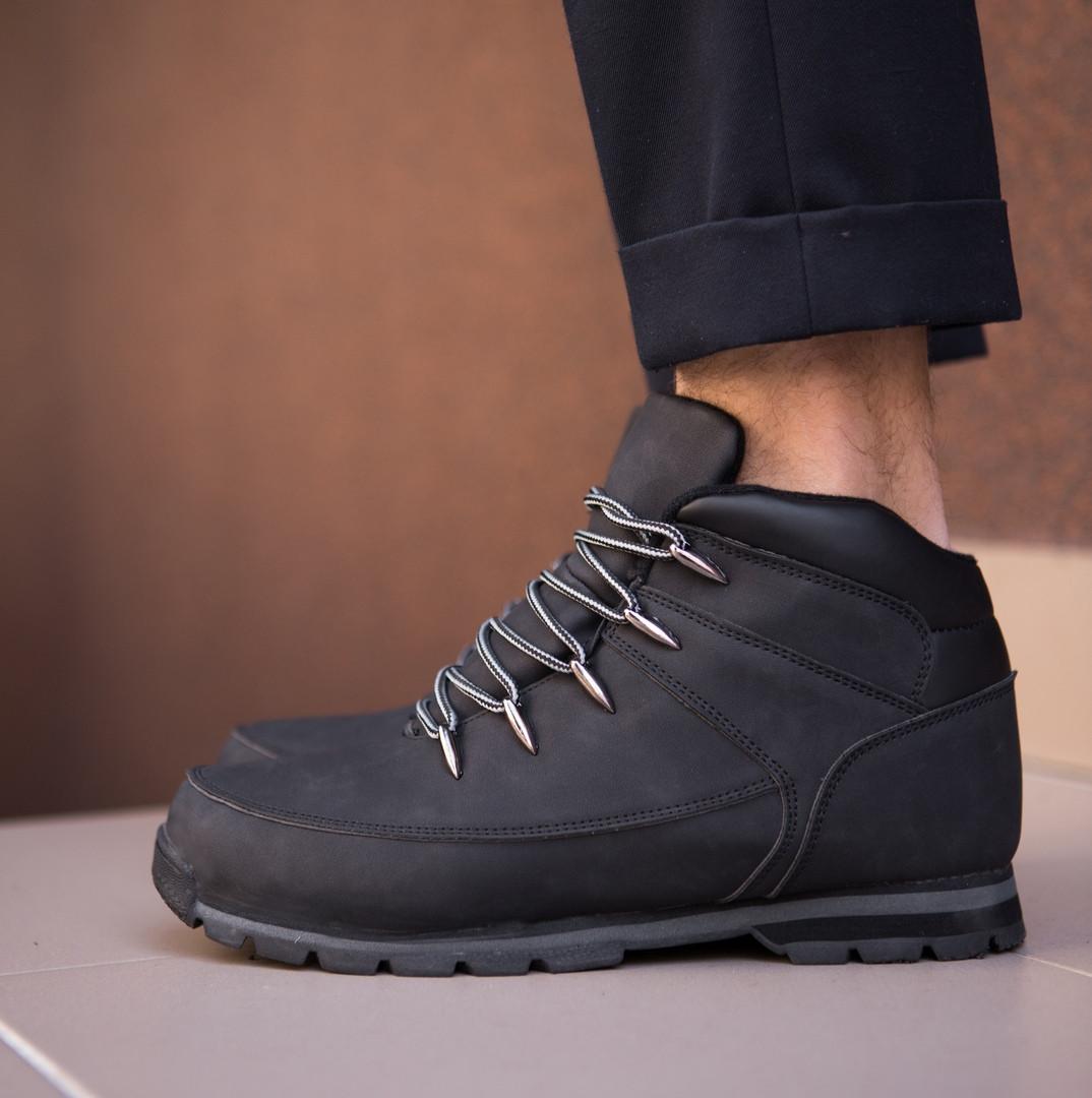 Зимние мужские ботинки высокие качественные на шнуровке на каждый день (черные), ТОП-реплика
