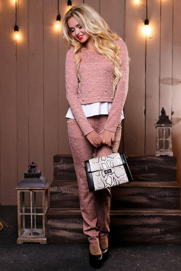 Женский розовый костюм кофта и штаны КТ-338