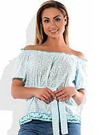 Блуза распашонка под поясок белая с ментоловым размеры от XL 3119
