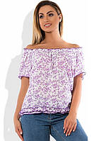 Блуза распашонка под поясок белая с сиреневым размеры от XL 3118