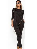 Женский асимметричный костюм с декором молнии размеры от XL 4339