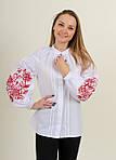 Праздничная вышитая блуза в белом цвете и красным орнаментом, фото 2