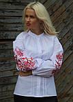 Праздничная вышитая блуза в белом цвете и красным орнаментом, фото 3