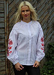 Праздничная вышитая блуза в белом цвете и красным орнаментом, фото 4