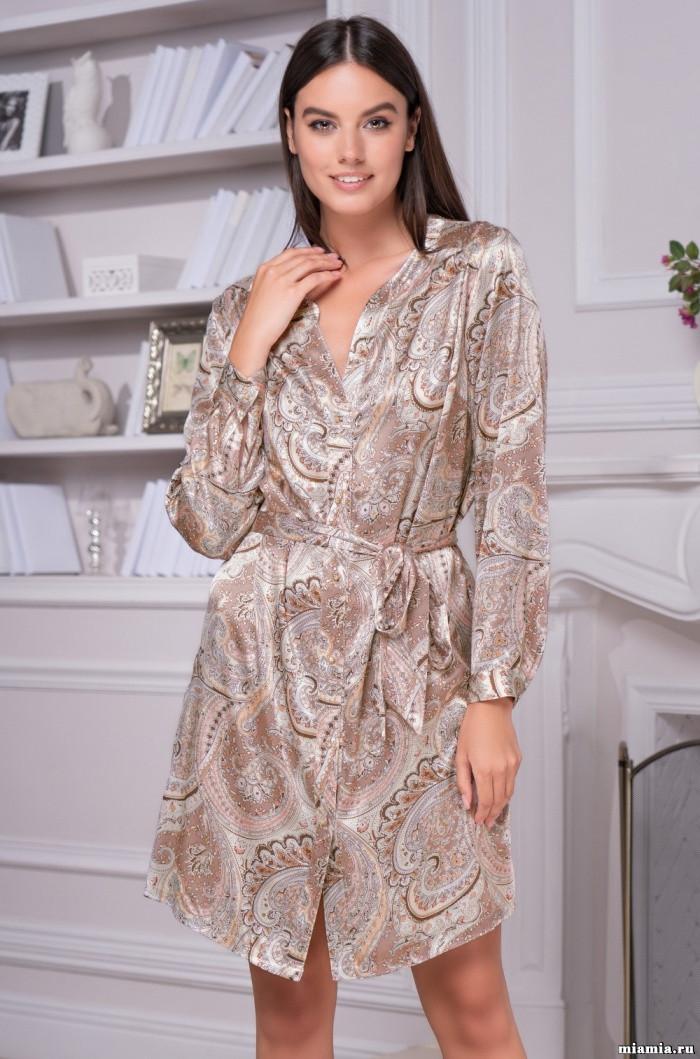 Рубашка - халат из натурального шелка 70%. Италия Mia-Mia Клементина 3455