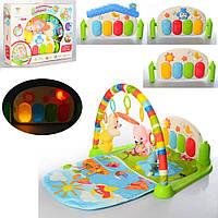 Развивающий коврик 820*520 мм для младенца с пианино и мягкими игрушками 698-51-52-53A