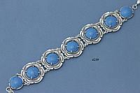 Браслет из серебра с имитацией бирюзы.