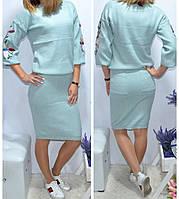 Юбочный костюм с вышивкой кашемировый женский , фото 1