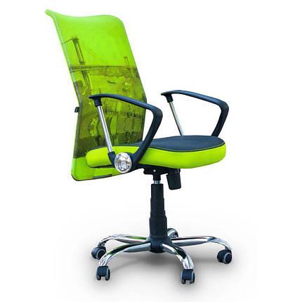 Кресло АЭРО HB сиденье Сетка серая, боковины Zeus 047 Light Green/ спинка Сетка лайм-Brooklyn Bridge, фото 2