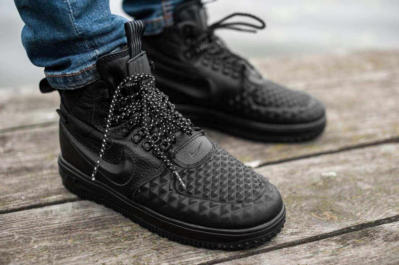 Мужские осенние кроссовки Nike Lunar Force 1 Duckboot, Черные, Кожа, резина  - Интернет 2e521f6bae0