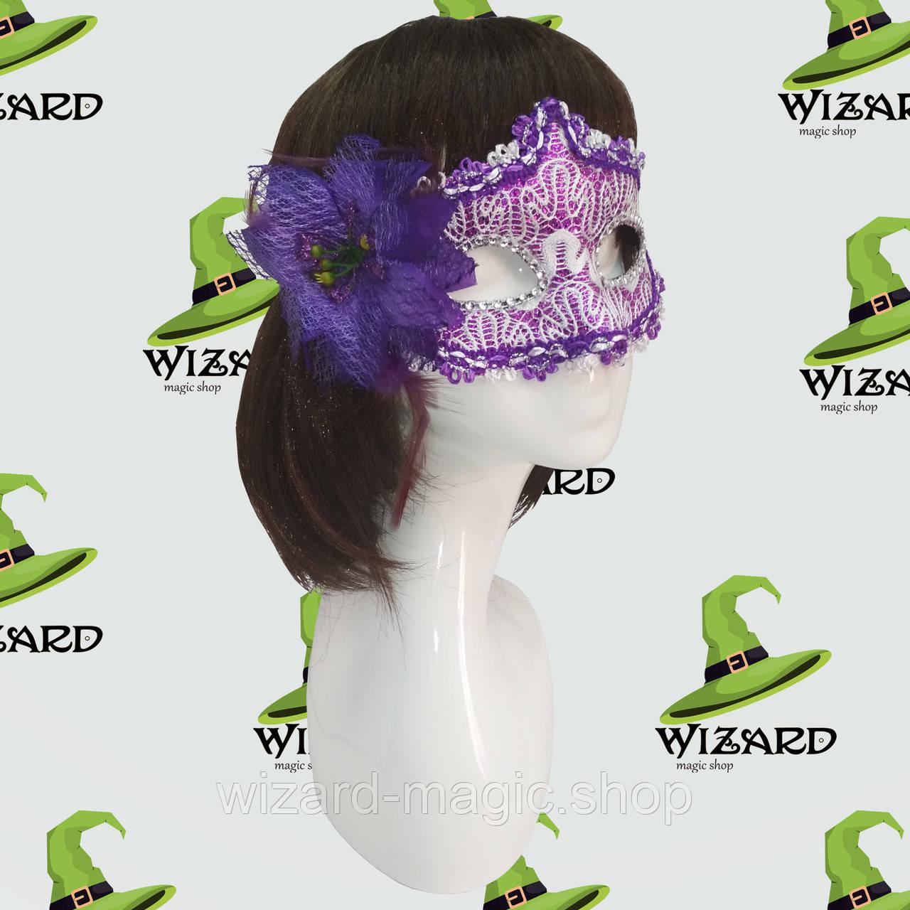 Венецианская маска с цветком фиолетовая