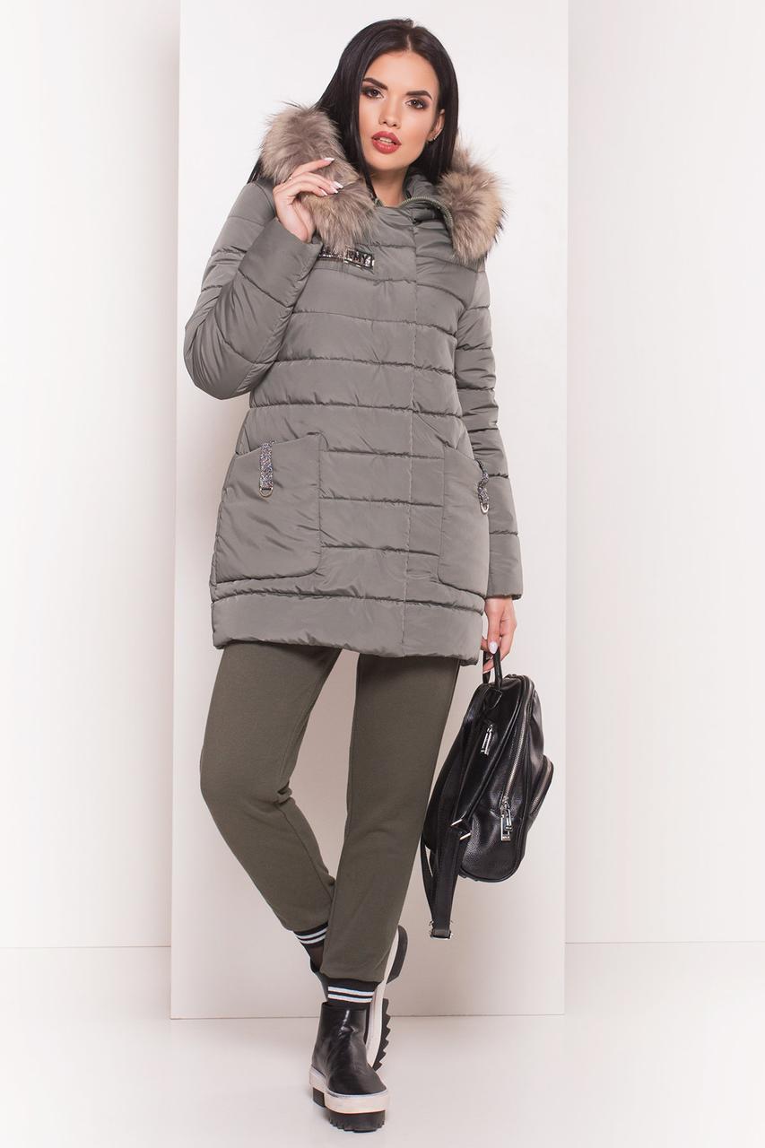 9a50a3f5 Зимний женский пуховик до колена с натуральным мехом - Интернет-магазин