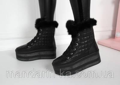 Женские зимние  ботинки черные  РР