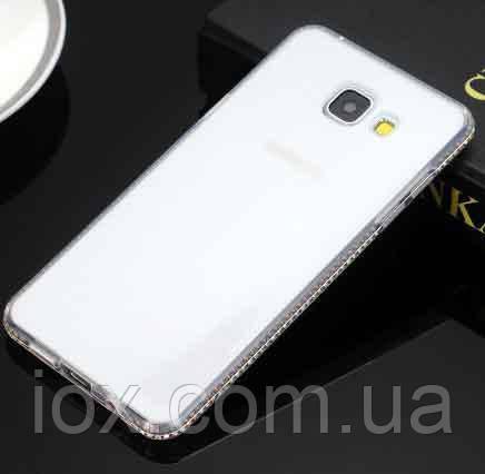Прозрачный чехол-накладка с блестящими камушками для Samsung Galaxy S8