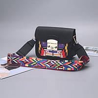 Сумочка маленькая черная с цветным плечевым ремешком, фото 1