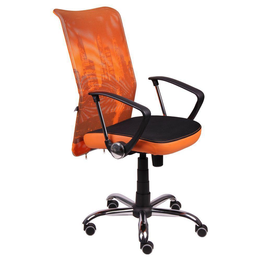 Кресло АЭРО HB сиденье Сетка черная, боковины Zeus 045 Orange/спинка Сетка оранж-Skyline