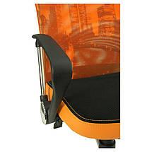 Кресло АЭРО HB сиденье Сетка черная, боковины Zeus 045 Orange/спинка Сетка оранж-Skyline, фото 3
