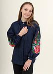 Женская вышитая блуза темно-синяя застегивается на пуговицы, фото 3