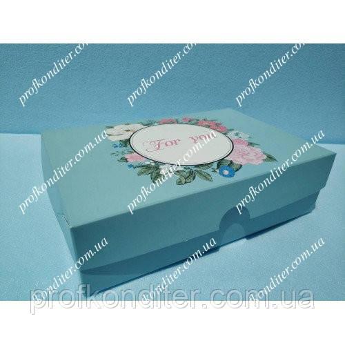 """Коробка для эклеров, зефира """"For you"""" бирюзовая"""